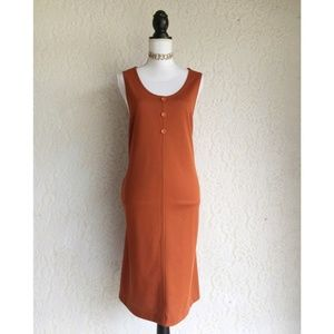 Vintage Solid Orange Sleeveless Dress